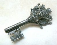 Vintage Large Heraldic Medieval Style Key Brooch By Miracle.